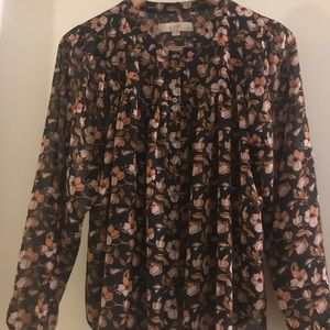 Floral print long-sleeved blouse (Loft, M)